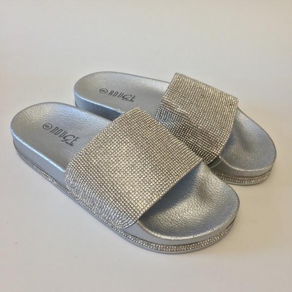 f0dbd9ffe86 Silver Crystal Sparkle Rhinestone Slides Sandals